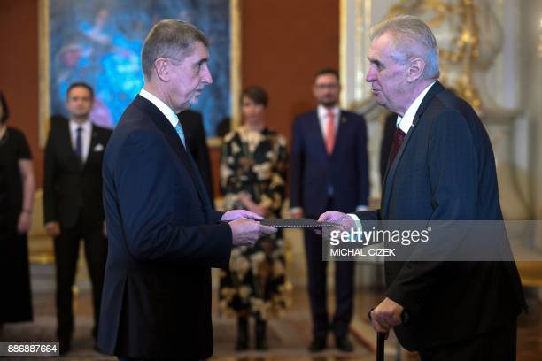 Czech President Milos Zeman appoints ANO party leader Andrej Babis as the countrys new prime minister on December 06 2017 at the Prague Castle in...