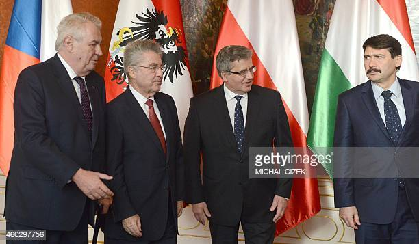 Czech President Milos Zeman Austrian President Heinz Fischer Poland's President Bronislaw Komorowski and Hungary's President Janos Ader arrive to...