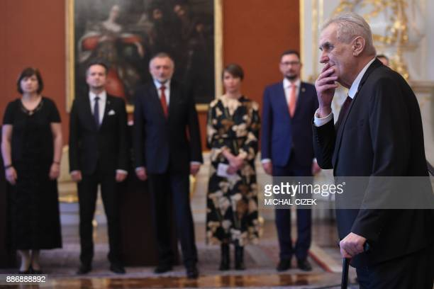 Czech President Milos Zeman gestures before he appoints ANO party leader Andrej Babis as the countrys new prime minister on December 06 2017 at the...