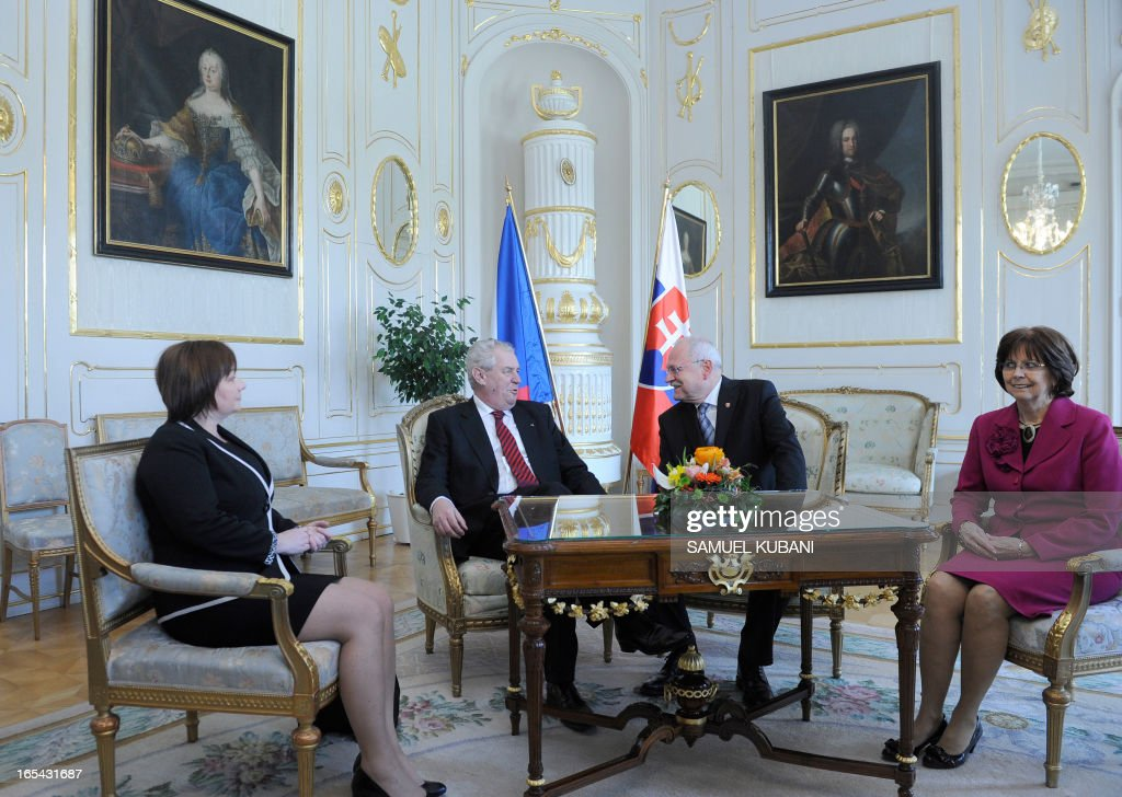 Czech President Milos Zeman (2nd L), his wife Ivana Zemanova (L) and Slovak counterpart Ivan Gasparovic (3rd L) and his wife Silvia Gasparovic (R) are pictured during a official meeting in Bratislava on April 4, 2013. New elected Czech President Milos Zeman is on his first official two-day visit to Slovakia.