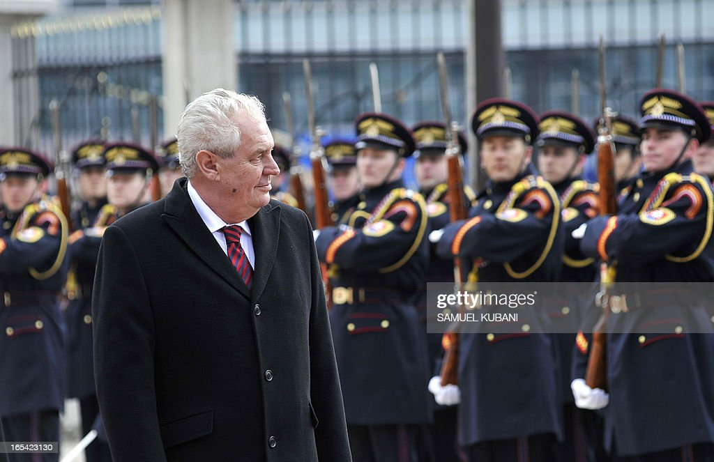 Czech President Milos Zeman inspects a honor guard on April 4, 2013 as part of his official meeting with his Slovak counterpart Ivan Gasparovic in Bratislava. New elected Czech President Milos Zeman is on his first official two-day visit to Slovakia.