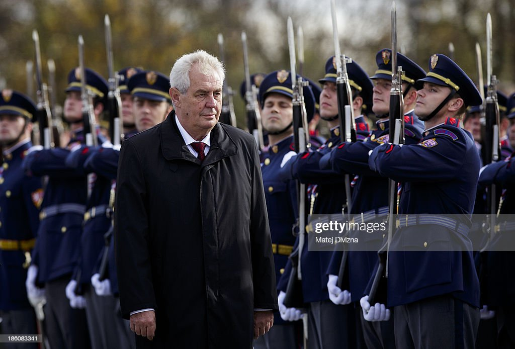 Czech President <a gi-track='captionPersonalityLinkClicked' href=/galleries/search?phrase=Milos+Zeman&family=editorial&specificpeople=2595776 ng-click='$event.stopPropagation()'>Milos Zeman</a> inspects the hoonour guard during an Independence Day ceremony at Vitkov Hill on October 28, 2013 in Prague, Czech Republic. The Czech Republic is marking the 95th anniversary of the creation of an independent Czechoslovak nation in 1918.
