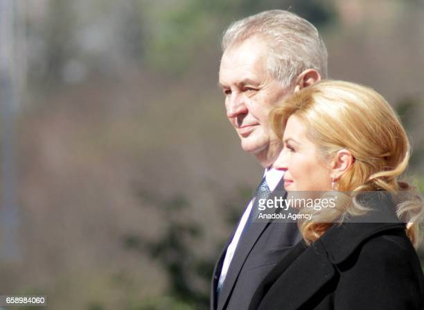 Czech President Milos Zeman is welcomed by his Croatian counterpart Kolinda Grabar Kitarovic with an official ceremony during his visit in Zagreb...