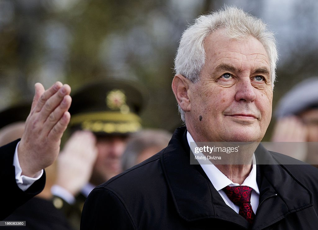 Czech President <a gi-track='captionPersonalityLinkClicked' href=/galleries/search?phrase=Milos+Zeman&family=editorial&specificpeople=2595776 ng-click='$event.stopPropagation()'>Milos Zeman</a> looks on during an Independence Day ceremony at Vitkov Hill on October 28, 2013 in Prague, Czech Republic. The Czech Republic is marking the 95th anniversary of the creation of an independent Czechoslovak nation in 1918.