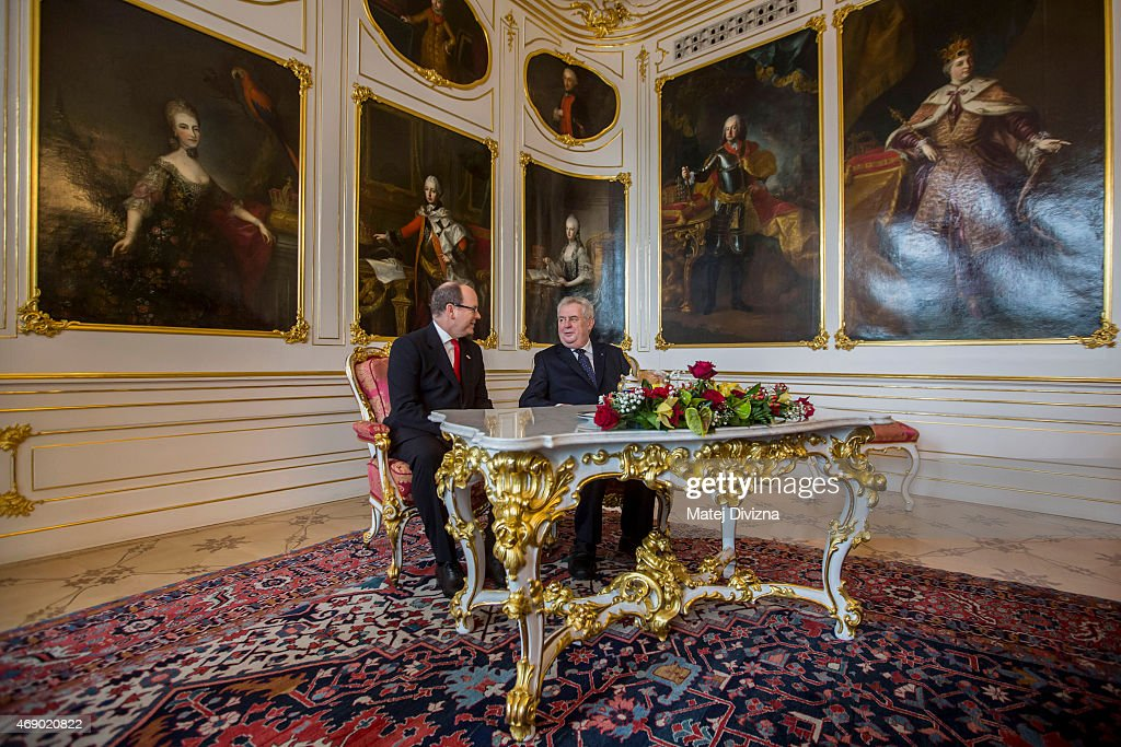 Czech President Milos Zeman (R) meets Prince Albert II of Monaco at Prague Castle on April 9, 2015 in Prague, Czech Republic. Prince Albert II of Monaco is in the Czech Republic for a three-day official visit.