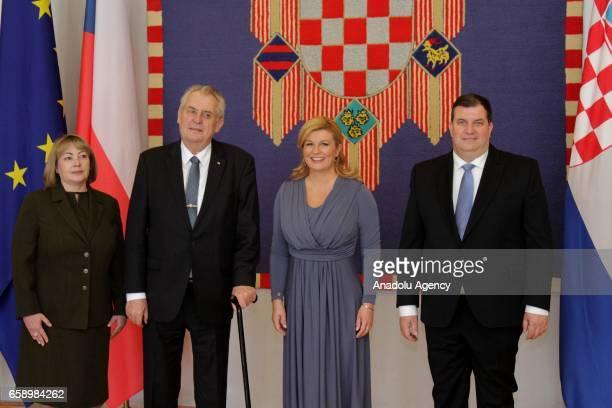 Czech President Milos Zeman meets with Croatian President Kolinda Grabar Kitarovic during his official visit in Zagreb Croatia on March 28 2017