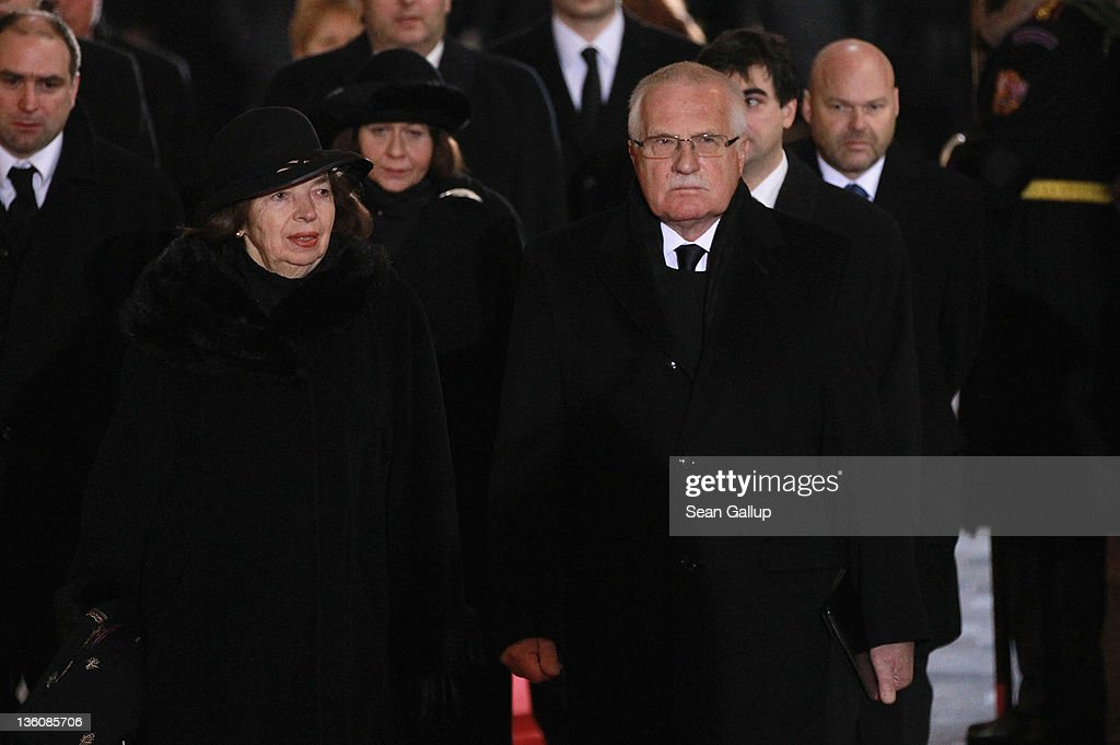 Czech President Vaclav Klaus and his wife <a gi-track='captionPersonalityLinkClicked' href=/galleries/search?phrase=Livia+Klausova&family=editorial&specificpeople=616325 ng-click='$event.stopPropagation()'>Livia Klausova</a> arrive for the state funeral of former Czech President Vaclav Havel at St. Vitus Cathedral on December 23, 2011 in Prague, Czech Republic. International heads of state and thousands of mourners came to pay their last respects to the dissident playwright who led the Velvet Revolution that forced communist rule in Czechoslovakia to crumble in 1989, and died in the early morning of December 18 in his sleep at the age of 75.