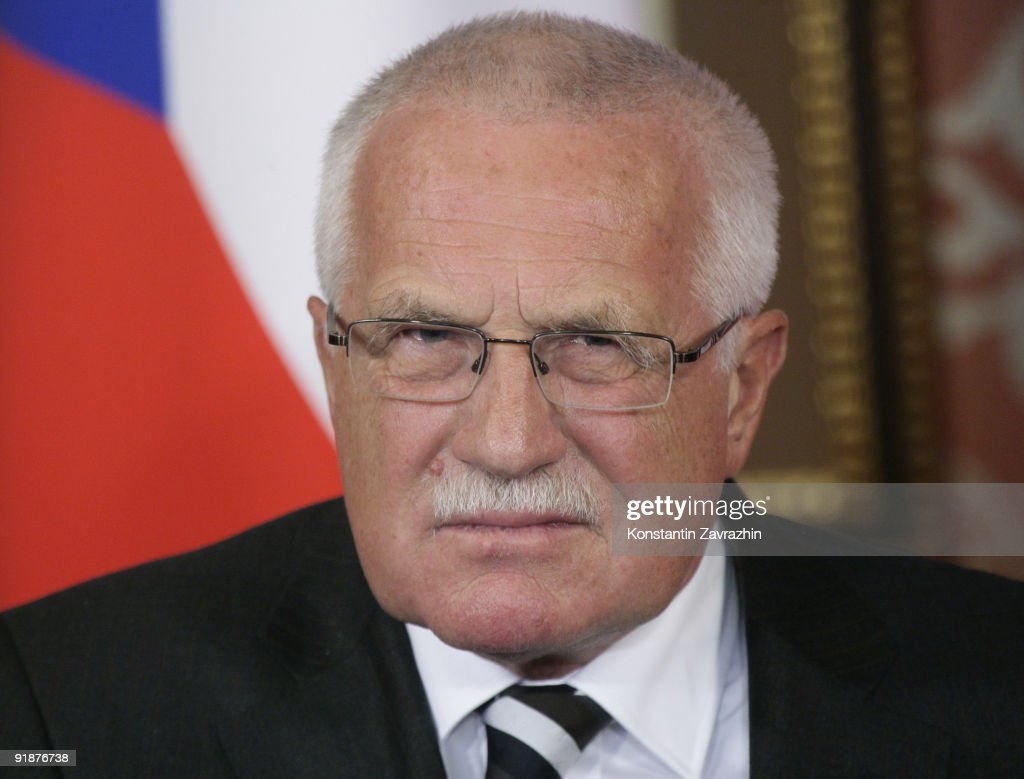 Czech President Vaclav Klaus attends a news conference with Russia's President Dmitry Medvedev at the presidential residence October 14 2009 in...