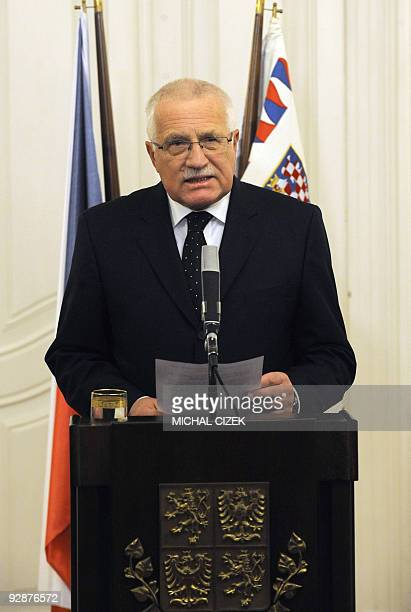 Czech President Vaclav Klaus reads a statement on November 3 2009 at Prague Castle in the capital Klaus announced his signing of the Lisbon Treaty...
