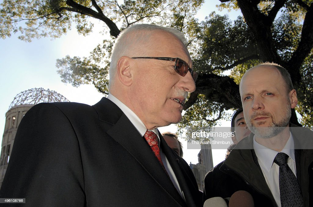 Czech President <a gi-track='captionPersonalityLinkClicked' href=/galleries/search?phrase=Vaclav+Klaus&family=editorial&specificpeople=241250 ng-click='$event.stopPropagation()'>Vaclav Klaus</a> speaks to reporters in front of the Atomic Dome at Hiroshima Peace Park on February 15, 2007 in Hiroshima, Japan.