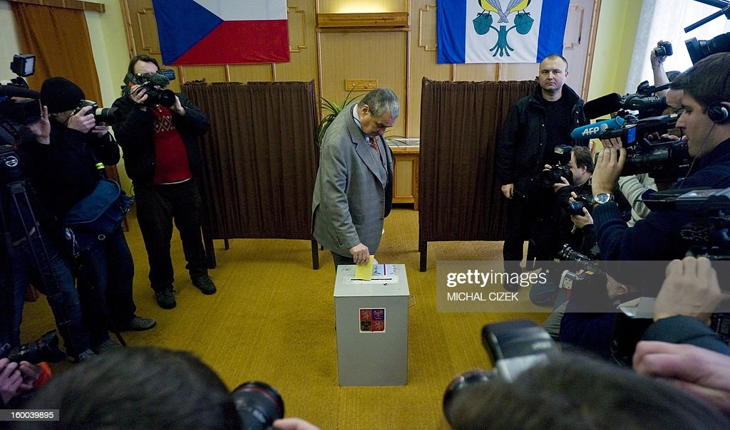Czech presidential candidate Karel Schwarzenberg casts his ballot during the second round of the first direct Czech presidential election on January 25, 2013 in Sykorice village, 50km from Prague. Czechs went to the polls to choose a new president between a former communist and a 75-year-old aristocrat whose Sex Pistols-inspired campaign brought the election to life and down to the wire.