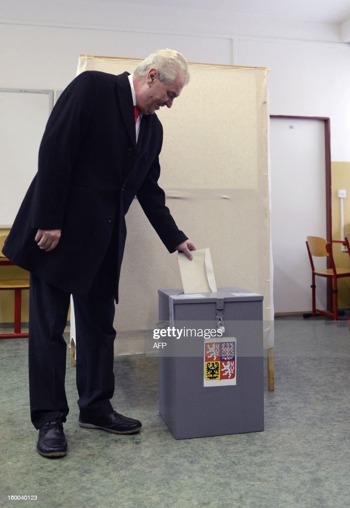 Czech Presidential candidate Milos Zeman casts his ballot in the second round of the first direct Czech casts his ballot during the second round of the first direct Czech presidential election on January 25, 2013 in Prague. Czechs went to the polls to choose a new president between a former communist and a 75-year-old aristocrat whose Sex Pistols-inspired campaign brought the election to life and down to the wire. AFP PHOTO / STRINGER