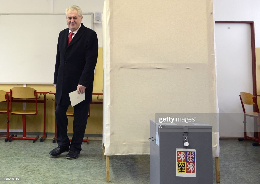 Czech Presidential candidate Milos Zeman casts his ballot in the second round of the first direct Czech casts his ballot during the second round of the first direct Czech presidential election on January 25, 2013 in Prague. Czechs went to the polls to choose a new president between a former communist and a 75-year-old aristocrat whose Sex Pistols-inspired campaign brought the election to life and down to the wire.