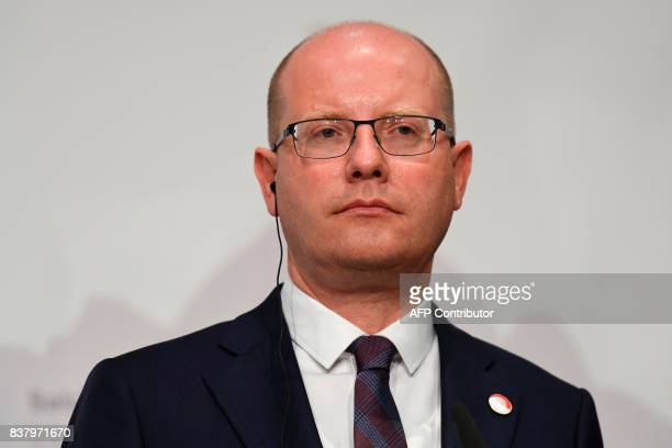 Czech Prime Minister Bohuslav Sobotka addresses a press conference after their meeting on August 23 2017 at the Congress palace in Salzburg French...