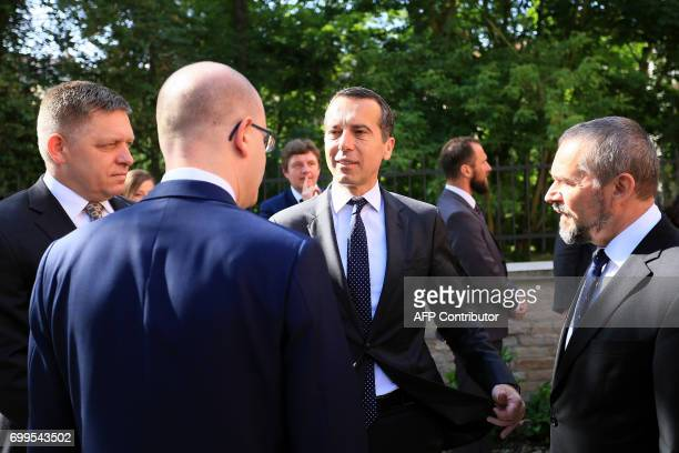 Czech Prime Minister Bohuslav Sobotka Austrian Chancellor Christian Kern and Slovak Prime Minister Robert Fico arrive for a joint meeting on June 22...
