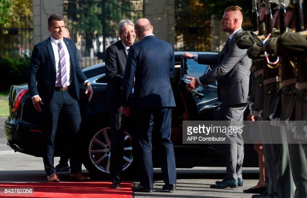 Czech Prime Minister Bohuslav Sobotka welcomes his Italian counterpart Paolo Gentiloni upon arrival for their meeting on September 07 2017 in Prague...
