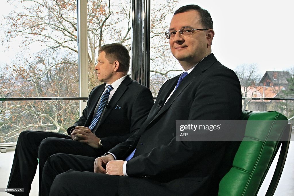 Czech Prime Minister Petr Necas (R) and his Slovak counterpart Robert Fico hold a meeting on January 1, 2013 at Villa Tugendhat in Brno where former premiers Klaus and Meciar agreed 20 years ago to the division of Czechoslovakia. Czechoslovakia, founded in 1918 after World War I brought down the Austro-Hungarian empire, split on January 1, 1993, just over three years after shedding its four-decade Communist regime.