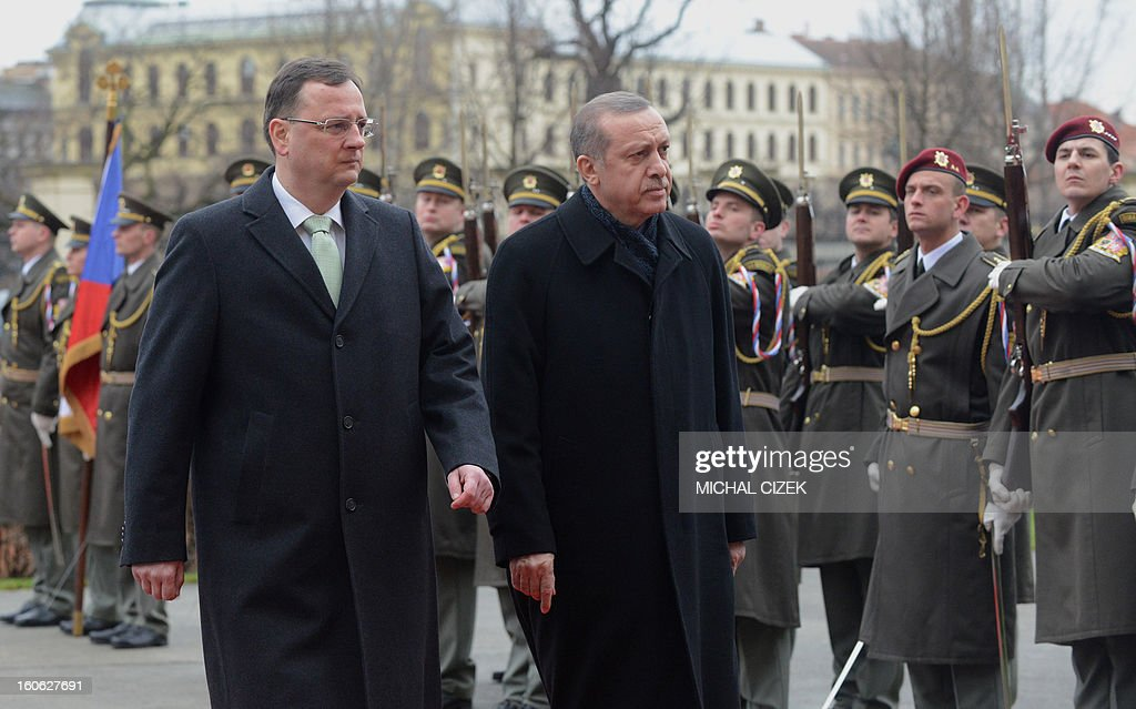 Czech Prime Minister Petr Necas (L) and Turkish Prime Minister Recep Tayyip Erdogan review a guard of honour during a welcoming ceremony before their meeting on February 04, 2013 at the government headquarter in Prague. CIZEK