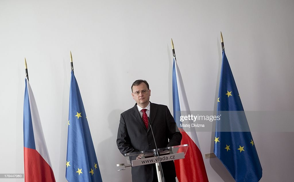 Czech Prime Minister <a gi-track='captionPersonalityLinkClicked' href=/galleries/search?phrase=Petr+Necas&family=editorial&specificpeople=3014277 ng-click='$event.stopPropagation()'>Petr Necas</a> makes statement to media at Czech Government headquarters on June 13, 2013 in Prague, Czech Republic. Several people were arrested by the police squad for uncovering organised crime (UOOZ) at the Czech Government offices after a cabinet meeting. Czech media reported that politicians and officers, including the former Minister of Agriculture Ivan Fuksa and Prime Minister's office head Jana Nagyova have been detained.