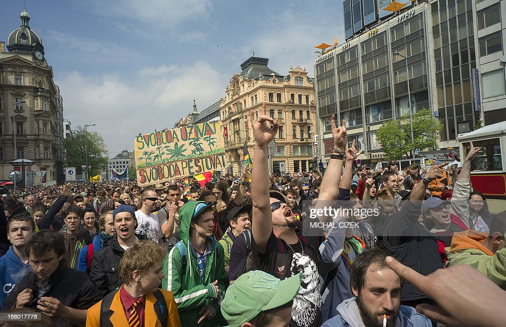 Czech protesters take part in a demonstration for the legalization of marijuana, in Prague on May 4, 2013.