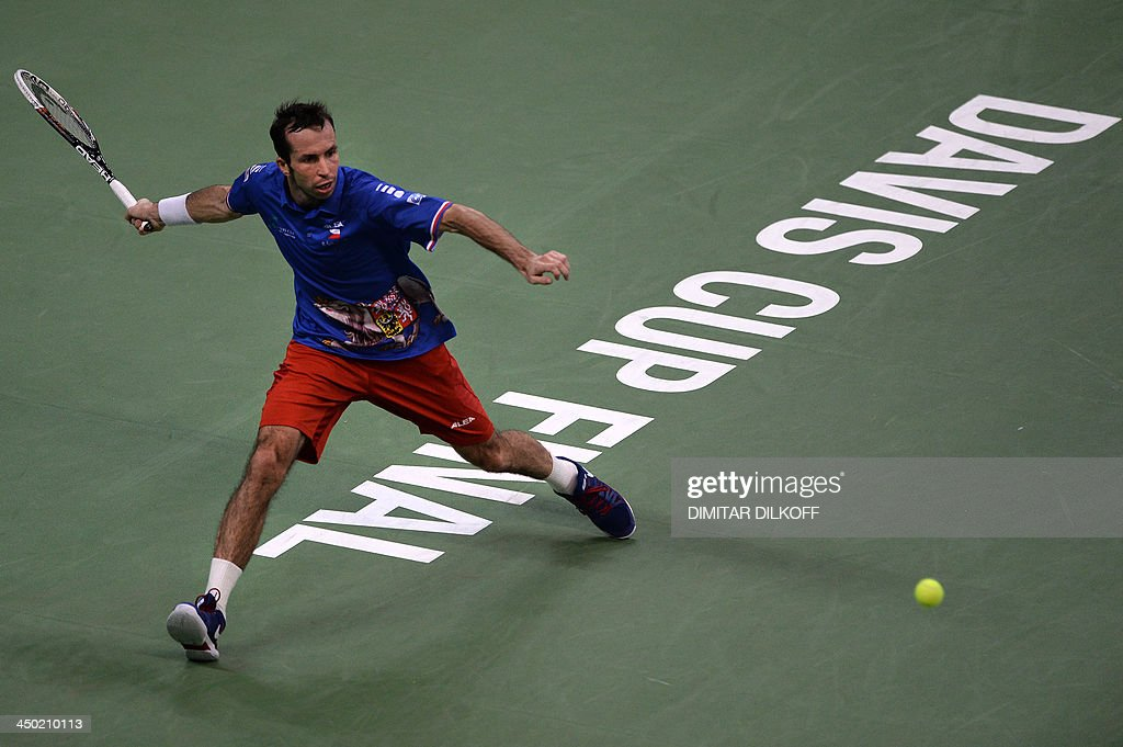 Czech Radek Stepanek return the ball to Serbian Dusan Lajovic during the Davis Cup final between Serbia and the Czech Republic at the Kombank Arena in Belgrade on November 17, 2013.