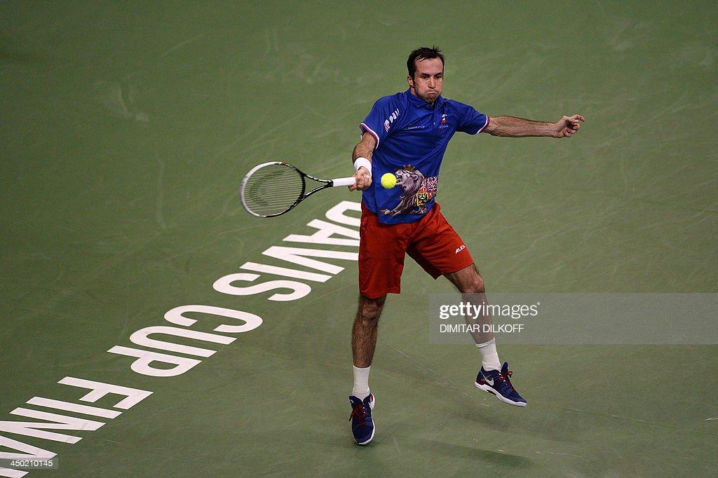 Czech Radek Stepanek return the ball to Serbian Dusan Lajovic during the Davis Cup final between Serbia and the Czech Republic at the Kombank Arena in Belgrade on November 17, 2013.