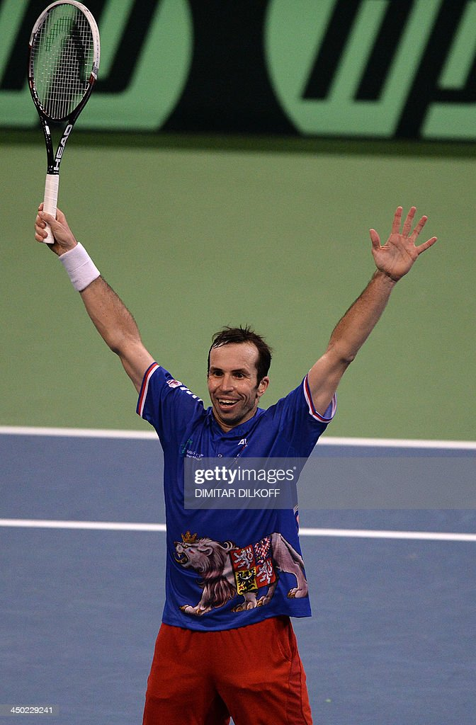 Czech Rebublic's Radek Stepanek jubilates after winning against Serbia's Dusan Lajovic during the Davis Cup final between Serbia and the Czech Republic at the Kombank Arena in Belgrade on November 17, 2013. The Czech Republic defended the Davis Cup title after Radek Stepanek beat Serbian youngster Dusan Lajovic in the decisive fifth final rubber in straight sets on November 17, 2013.