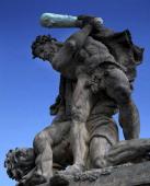 Czech Republic Bohemia Prague Titan statues outside Prague Castle and Presidential Palace Hradcany