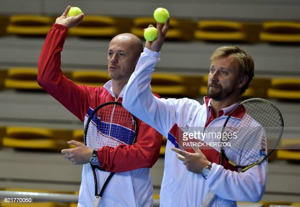 Czech Republic Fed Cup team coaches Petr Pala and Jiri Vanek take part in a practice session on November 8 2016 in Strasbourg eastern France ahead of...