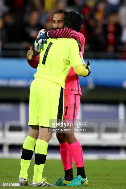 Czech Republic goalkeeper Petr Cech embraces Turkey goalkeeper Volkan Babacan after the final whistle