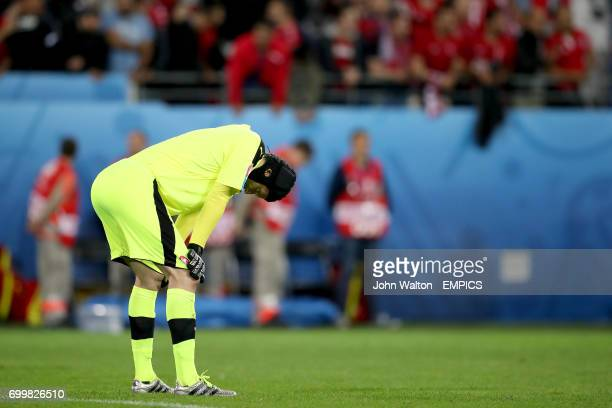 Czech Republic goalkeeper Petr Cech is left dejected after the final whistle