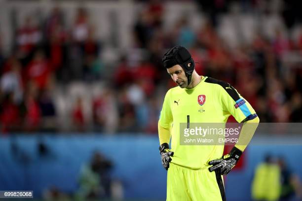 Czech Republic goalkeeper Petr Cech stands dejected at the final whistle