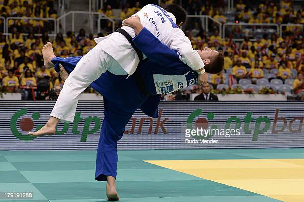 Czech Republic judoka Lukas Krpalek competes with Japan's Takashi Ono during the 100kg category medal Bronze of the IJF World Judo Championship at...