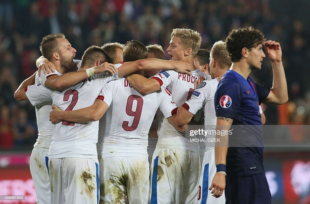 Czech Republic players celebrate after the UEFA Euro 2016 Group A qualifying football match Czech Republic vs Netherlands on September 9 2014 in...