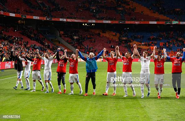 Czech Republic players celebrate victory after the UEFA EURO 2016 qualifying Group A match between the Netherlands and the Czech Republic at...