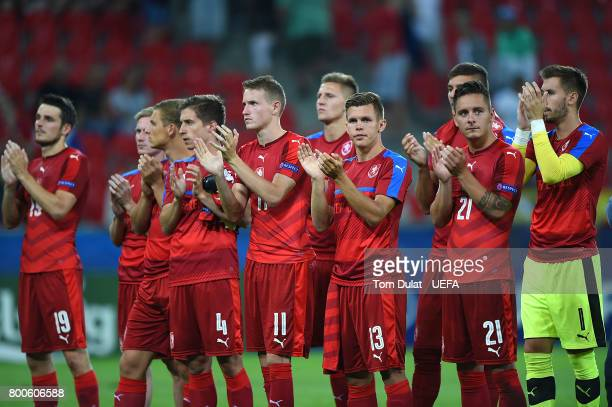 Czech Republic players look dejected after the UEFA European Under21 Championship Group C match between Czech Republic and Denmark at Tychy Stadium...