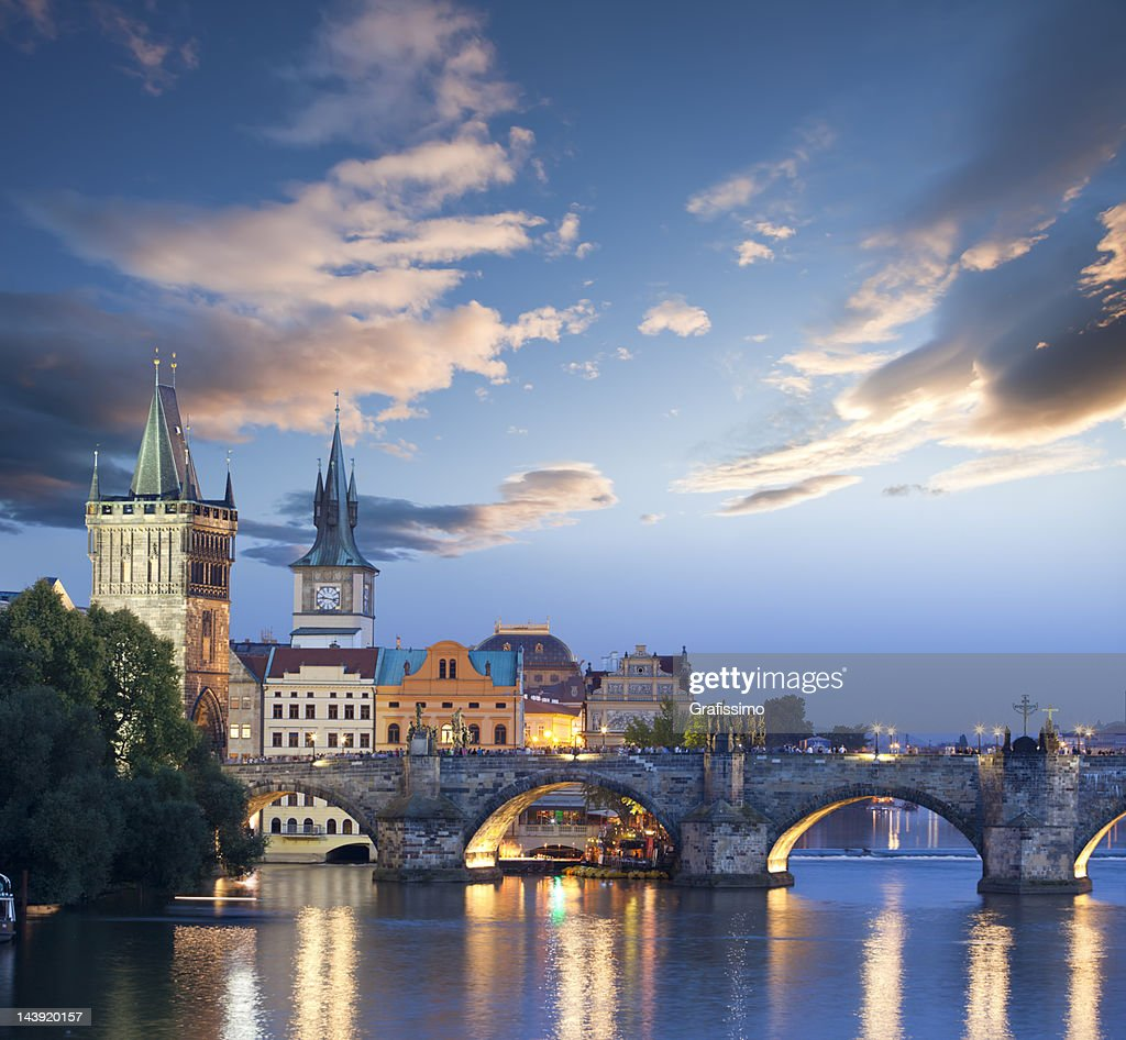 Czech republic prague charles bridge at dawn