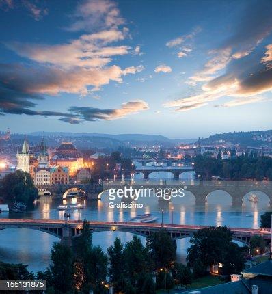 Czech republic Prague charles bridge at dawn