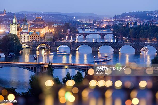Czech republic prague charles bridge with river Vltava at night