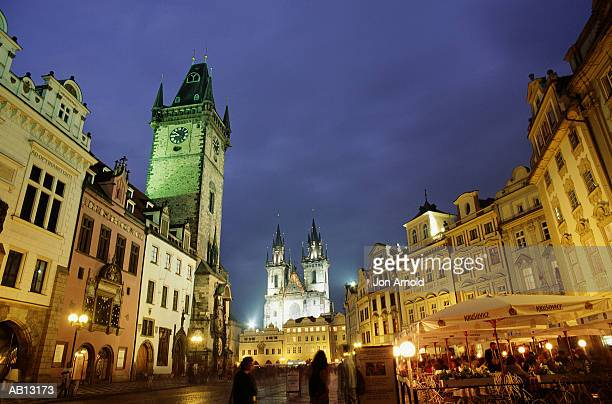 Czech Republic, Prague, Church of Our Lady illuminated in town square