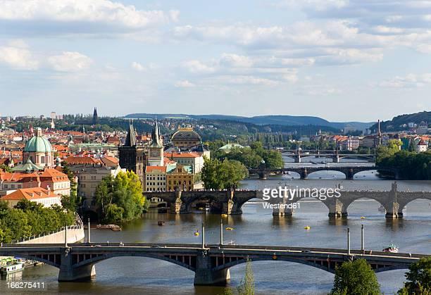 Czech Republic, Prague, Cityscape with bridges on Vltava river