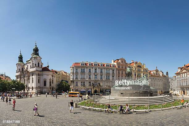 Czech Republic, Prague, Old Town Square with St. Nicholas Church and Jan Hus memorial