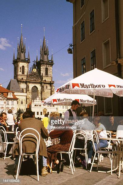 Czech Republic Prague Outdoor Cafe And Our Lady Of Tyn Church