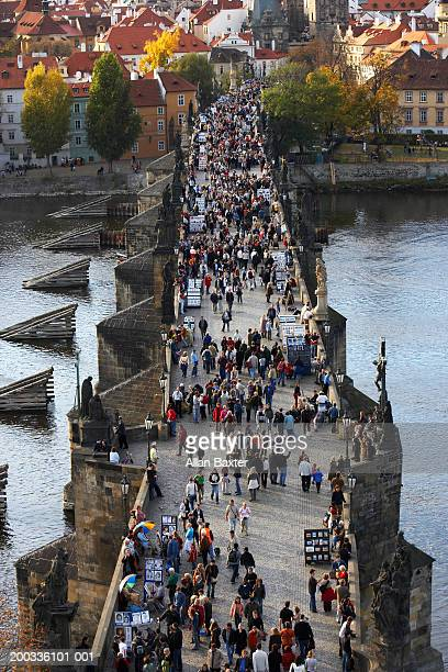 Czech Republic, Prague, people on Charles Bridge, elevated view