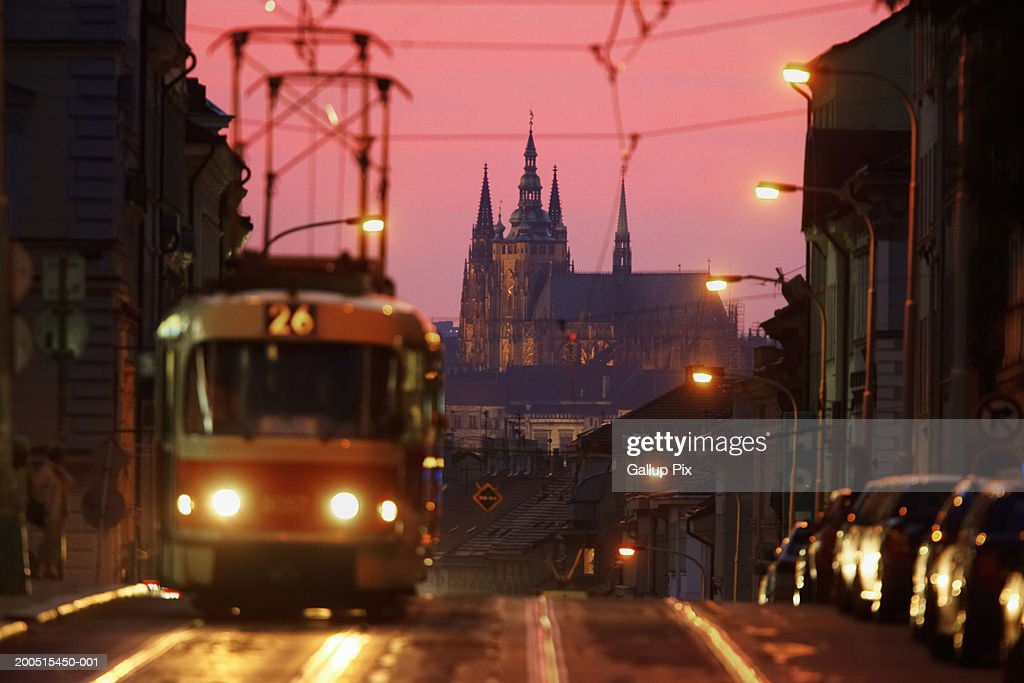 Czech Republic. Prague,  tram in Karlin district : Stock Photo