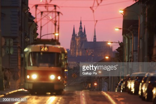 Czech Republic. Prague,  tram in Karlin district : Stock-Foto