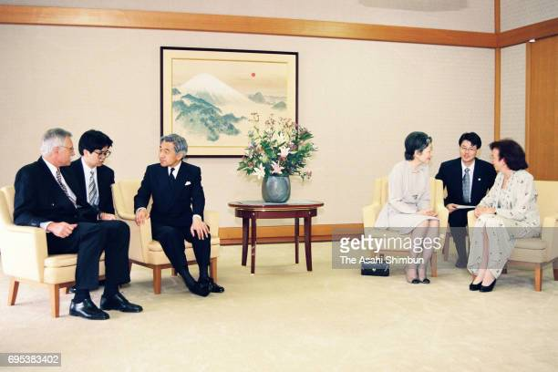 Czech Republic Prime Minister Vaclav Klaus and his wife Livia Klausova talk with Emperor Akihito and Empress Michiko during their meeting at the...