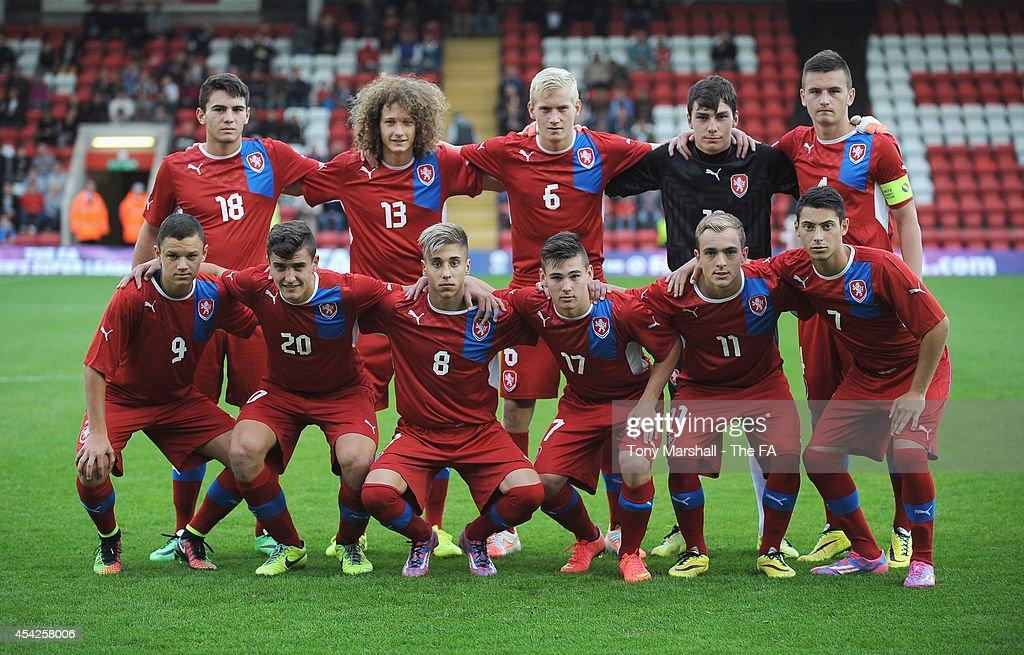 Czech Republic team group before the Under 17 International match between England U17 and Czech Republic U17 at Aggborough Stadium on August 27, 2014 in Kidderminster, England.