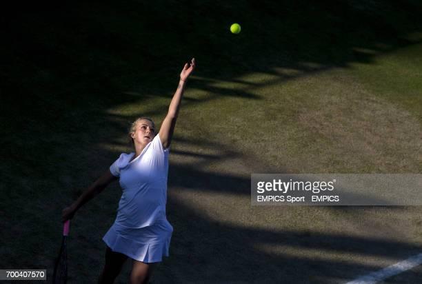 Czech Republic's Anastasia Pavlyuchenkova in action in the ladies doubles