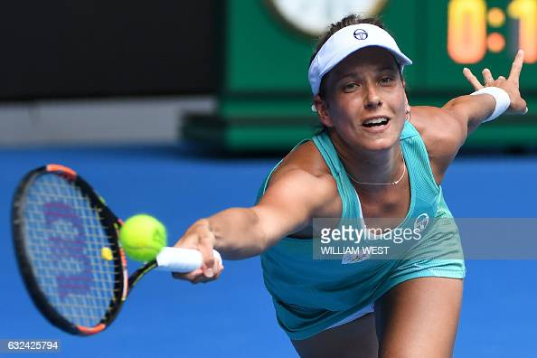 TOPSHOT Czech Republic's Barbora Strycova hits a return against Serena Williams of the US during their women's singles fourth round match on day...